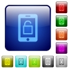 Smartphone unlock color square buttons - Smartphone unlock icons in rounded square color glossy button set