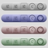 Horizontal adjustment icons on horizontal menu bars - Horizontal adjustment icons on rounded horizontal menu bars in different colors and button styles