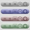 Spam mail icons on horizontal menu bars - Spam mail icons on rounded horizontal menu bars in different colors and button styles