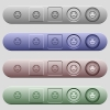 Neutral emoticon icons on rounded horizontal menu bars in different colors and button styles - Neutral emoticon icons on horizontal menu bars