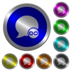 Blog comment attachment icons on round luminous coin-like color steel buttons - Blog comment attachment luminous coin-like round color buttons