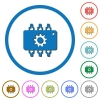 Hardware settings icons with shadows and outlines - Hardware settings flat color vector icons with shadows in round outlines on white background