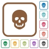 Human skull simple icons - Human skull simple icons in color rounded square frames on white background