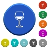 Glass of wine beveled buttons - Glass of wine round color beveled buttons with smooth surfaces and flat white icons