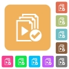 Playlist done rounded square flat icons - Playlist done flat icons on rounded square vivid color backgrounds.