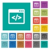 Programming code in software window square flat multi colored icons - Programming code in software window multi colored flat icons on plain square backgrounds. Included white and darker icon variations for hover or active effects.