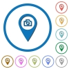 GPS map location snapshot icons with shadows and outlines - GPS map location snapshot flat color vector icons with shadows in round outlines on white background