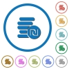 Israeli new Shekel coins icons with shadows and outlines - Israeli new Shekel coins flat color vector icons with shadows in round outlines on white background
