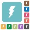 Lightning energy rounded square flat icons - Lightning energy white flat icons on color rounded square backgrounds