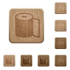 Paper towel wooden buttons - Paper towel on rounded square carved wooden button styles