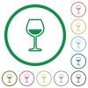 Glass of wine flat icons with outlines - Glass of wine flat color icons in round outlines on white background