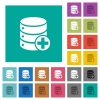 Add to database square flat multi colored icons - Add to database multi colored flat icons on plain square backgrounds. Included white and darker icon variations for hover or active effects.