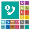 Dollar commercial call square flat multi colored icons - Dollar commercial call multi colored flat icons on plain square backgrounds. Included white and darker icon variations for hover or active effects.