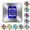 Smartphone firewall rounded square steel buttons - Smartphone firewall engraved icons on rounded square glossy steel buttons