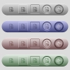 Favorite document icons on horizontal menu bars - Favorite document icons on rounded horizontal menu bars in different colors and button styles