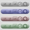 Desktop computer icons on horizontal menu bars - Desktop computer icons on rounded horizontal menu bars in different colors and button styles