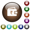 Indian Rupee wallet color glass buttons - Indian Rupee wallet white icons on round color glass buttons