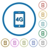 Fourth generation mobile network icons with shadows and outlines - Fourth generation mobile network flat color vector icons with shadows in round outlines on white background