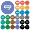 Air conditioner round flat multi colored icons - Air conditioner multi colored flat icons on round backgrounds. Included white, light and dark icon variations for hover and active status effects, and bonus shades on black backgounds.