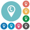 Call box GPS map location flat round icons - Call box GPS map location flat white icons on round color backgrounds