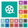 Movie roll square flat multi colored icons - Movie roll multi colored flat icons on plain square backgrounds. Included white and darker icon variations for hover or active effects.