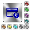 Rupee credit card rounded square steel buttons - Rupee credit card engraved icons on rounded square glossy steel buttons