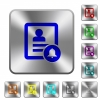 Contact notifications rounded square steel buttons - Contact notifications engraved icons on rounded square glossy steel buttons