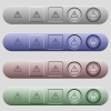 Triangle shaped warning sign icons on horizontal menu bars - Triangle shaped warning sign icons on rounded horizontal menu bars in different colors and button styles