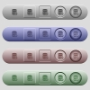Pin database icons on horizontal menu bars - Pin database icons on rounded horizontal menu bars in different colors and button styles