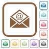 Open mail with email symbol simple icons - Open mail with email symbol simple icons in color rounded square frames on white background