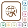 World travel simple icons - World travel simple icons in color rounded square frames on white background