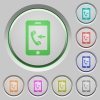 Incoming mobile call push buttons - Incoming mobile call color icons on sunk push buttons