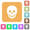 Human skull rounded square flat icons - Human skull flat icons on rounded square vivid color backgrounds.