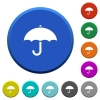 Umbrella beveled buttons - Umbrella round color beveled buttons with smooth surfaces and flat white icons