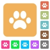 Paw prints rounded square flat icons - Paw prints flat icons on rounded square vivid color backgrounds.