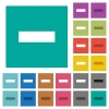 Remove item square flat multi colored icons - Remove item multi colored flat icons on plain square backgrounds. Included white and darker icon variations for hover or active effects.