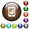 Smartphone signal strength color glass buttons - Smartphone signal strength white icons on round color glass buttons