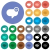 Message sent round flat multi colored icons - Message sent multi colored flat icons on round backgrounds. Included white, light and dark icon variations for hover and active status effects, and bonus shades on black backgounds.