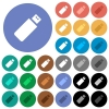 Pendrive round flat multi colored icons - Pendrive multi colored flat icons on round backgrounds. Included white, light and dark icon variations for hover and active status effects, and bonus shades on black backgounds.