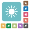 Sun white flat icons on color rounded square backgrounds - Sun rounded square flat icons