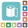 Paper towel rounded square flat icons - Paper towel white flat icons on color rounded square backgrounds
