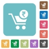 Checkout with Rupee cart rounded square flat icons - Checkout with Rupee cart white flat icons on color rounded square backgrounds