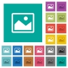 Single picture square flat multi colored icons - Single picture multi colored flat icons on plain square backgrounds. Included white and darker icon variations for hover or active effects.