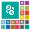 Ruble Lira money exchange square flat multi colored icons - Ruble Lira money exchange multi colored flat icons on plain square backgrounds. Included white and darker icon variations for hover or active effects.