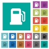 Gas station square flat multi colored icons - Gas station multi colored flat icons on plain square backgrounds. Included white and darker icon variations for hover or active effects.
