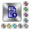 Voice document rounded square steel buttons - Voice document engraved icons on rounded square glossy steel buttons