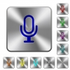 Microphone rounded square steel buttons - Microphone engraved icons on rounded square glossy steel buttons