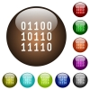 Binary code color glass buttons - Binary code white icons on round color glass buttons