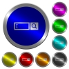 Search box luminous coin-like round color buttons - Search box icons on round luminous coin-like color steel buttons