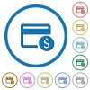 Dollar credit card icons with shadows and outlines - Dollar credit card flat color vector icons with shadows in round outlines on white background
